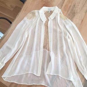 Leith 100% silk and lace blouse